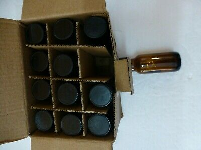 AMBER Boston Round Glass Bottles 1/2 oz/15 ML W/Black Cone Lined Caps 12ct(BB-7)