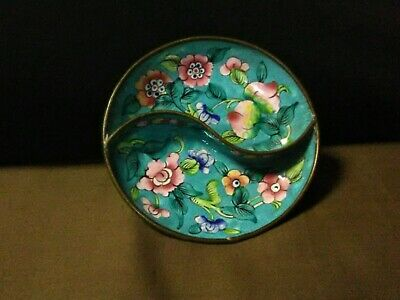 Antique Chinese Canton Painted Copper Enamel Turquoise/Floral Yin Yang Pin Dish