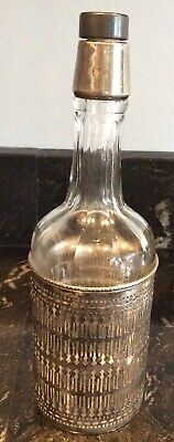 Antique Liquor Bottle Decanter Sterling Silver Overlay Glass SHRF VF&C Stamped