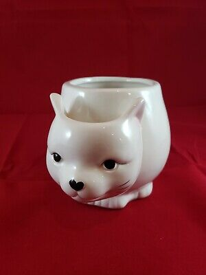 10 Strawberry Street ~ white Cat Mug ~ Tea Cup With Tea Bag Holder