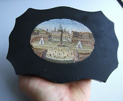 Antique Victorian Grand Tour Micro Mosaic Paperweight