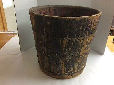 Primitive Wood Staved Bucket Flower Pot 3 Wire Bands Old Black Paint Over Red
