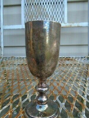 Vintage Silver Chalice goblet cup patina  F B Rogers silver co 1883