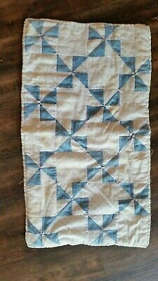 Old Antique Blue And White Doll Quilt. .Aafa