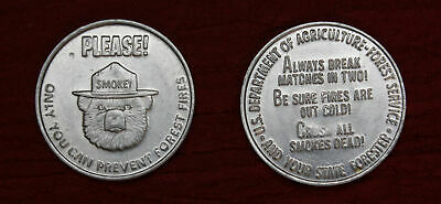 Lot Of 2 Vintage Smokey Bear Tokens Coins Medals Please Prevent Forest Fire