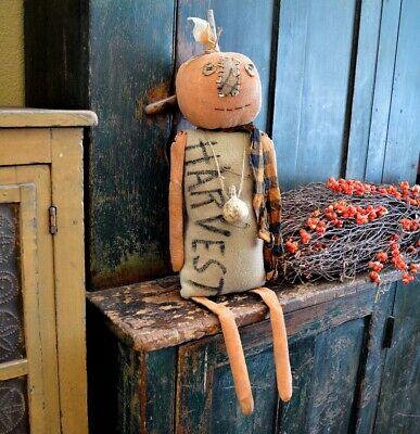 Large Handmade Primitive Folk Art Fall / Harvest Pumpkin Head Doll 30""