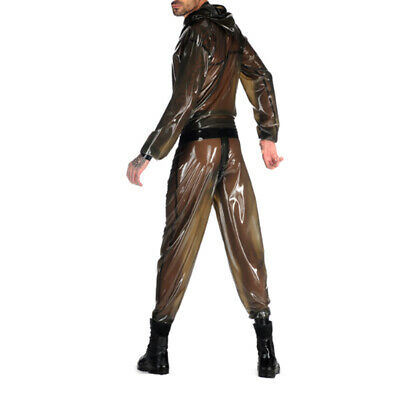 2019 New Latex Catsuit Rubber Anzug Party Kostüm Bodysuit Gummi Smoke Grey S-XXL