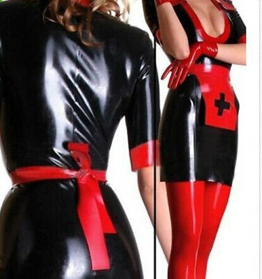 100%Gummi Latex Rubber Red with Black Nurse Skirt Suit Tights 0.4,mm Size S-XXL