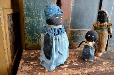 Handmade Folk-Art Black Bottle Doll