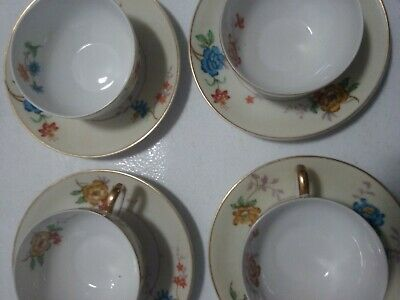 Cups and Saucers 4 sets B&C Limoges France Bernardaud & Co. Rivera fine china