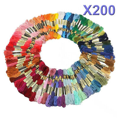 AU 200 Mix Colors Embroidery Thread Floss Kit Cross Cotton Stitch Sewing Skeins