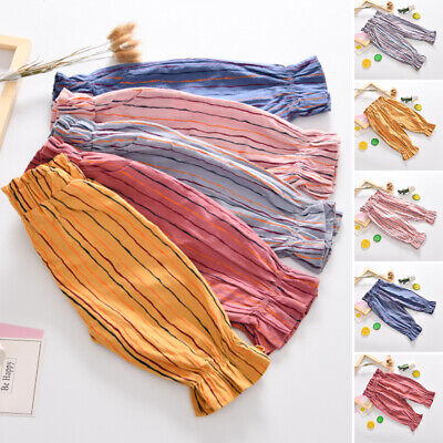 Kids Girls Cropped Pants Holiday Elastic Waist Lantern Casual Pleated Trousers