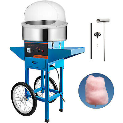 Cotton Candy Machine w/ Cart & Cover Stainless Steel Bowl Sugar Floss Maker