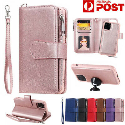 Fr iPhone 11 Pro Max 8 7 6s Xs Xr Removable Leather Card Flip Wallet Case Cover