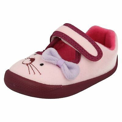 Girls Toddler Clarks Shilo Candy First Hook & Loop Indoor Slippers Shoes Size