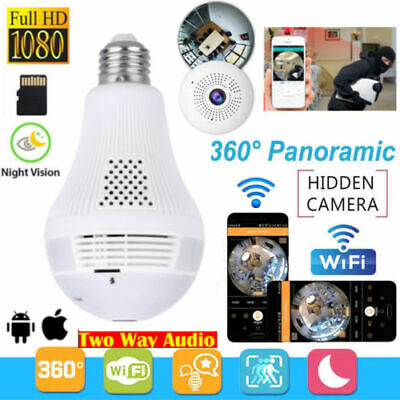 Wireless Cameras 360° View Home Security Smart WiFi 960P Spy Bulb LED Panoramic