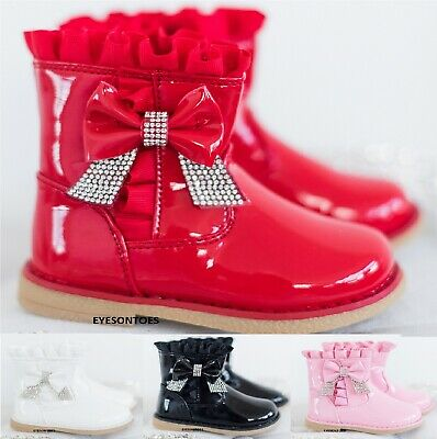 Childrens Winter Flat School Comfy Party Ankle Boots Kids Girls Infants Shoes Sz