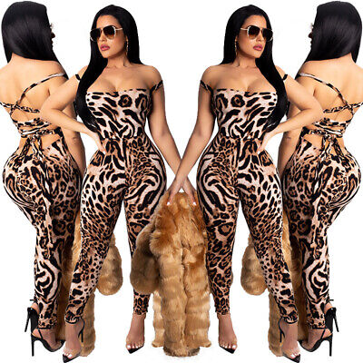 NEW Women's Stylish Sleeveless Printed Hollow Out Low Cut Bodycon Club Jumpsuit