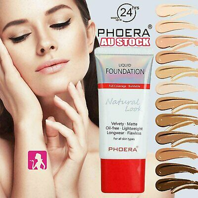 PHOERA Liquid Foundation Full Coverage Velvety Matte flawless lasting Makeup RK