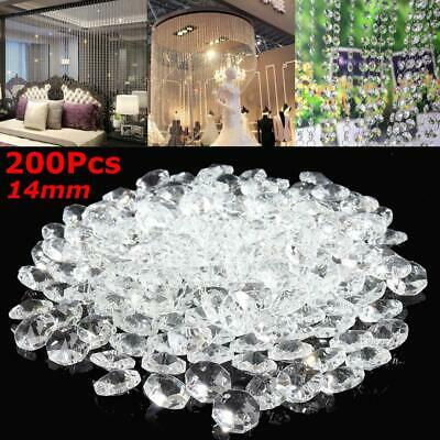 200PCS Clear Crystal Glass Chandelier Part Prisms Octagonal Beads Decor 14MM