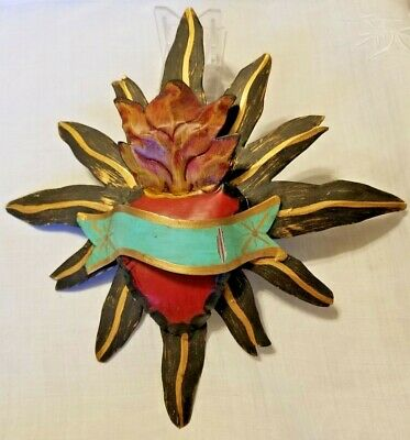 """Mexican Hand Made Hand Painted Sacred Heart Tin Wall Hanging - 9"""" Across"""