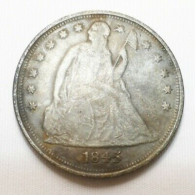 1845 Seated Liberty Silver Dollar $1  FAKE/COUNTERFEIT