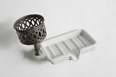 antique faucet soap holder dish tray cup tumbler | victorian sink porcelain vtg