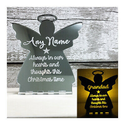Christmas Memorial Tealight Candle Holder Angel In Memory of Personalised Custom