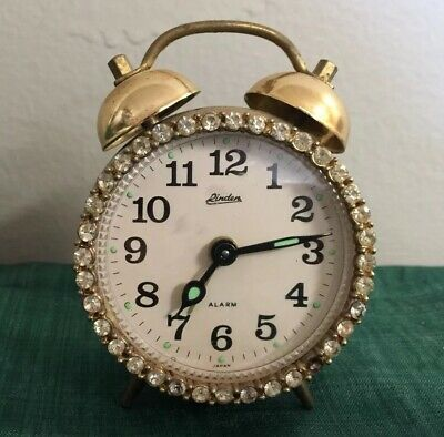Vintage Clear Rhinestone Linden Black Forest Alarm Clock Made in Germany