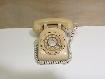 Vintage Yellow Bell System Rotary Desk Phone