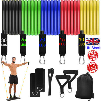 Resistance Bands Exercise Set, 5 Tubes With Handles, Door Anchor, Ankle Strap E