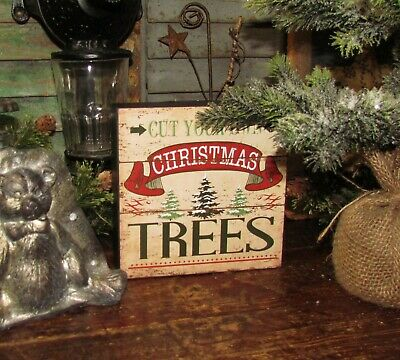 Primitive Vtg Style Green Red Holiday Christmas Cut Your Own Trees Lot Sign