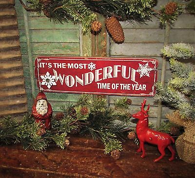 Primitive Vtg Style Red Christmas Wonderful Time Year Snowflake Sign Gift Idea