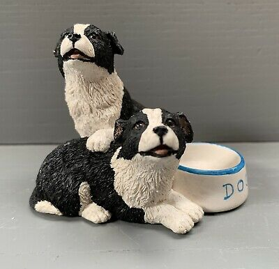 Border Collie Dogs Miniature Figurine Hand Made In Scotland