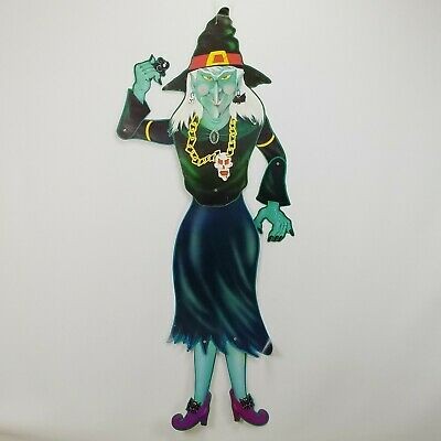 """Vintage Posable Jointed Cardboard Paper Witch Halloween Decoration 50"""""""