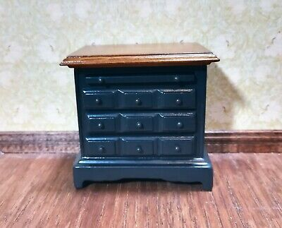 Dollhouse Miniature Side Table or Night Stand with Drawers 1:12 Scale Black
