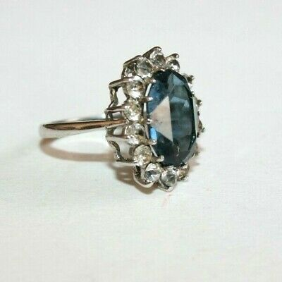 VINTAGE ART DECO to 1950s SILVER & LARGE BLUE 'SAPPHIRE' CRYSTAL CLUSTER RING