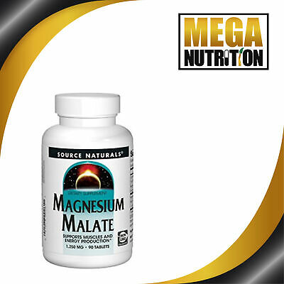 Source Naturals Magnesium Malate 1250mg | 90 Tabletten | Energie, Muskel
