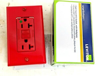 Leviton GFNT2-HGR Red Hospital Grade GFCI Duplex Receptacle Outlet w/Wallplate