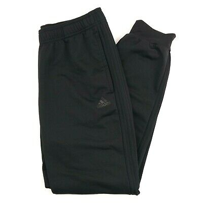 Adidas Essentials 3 Stripe Mens Large Black Blackout Joggers Training Track Pant