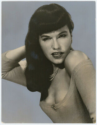 Bombshell Pin-Up Sweater Girl Bettie Page Vintage 1950s Portrait Photograph OOAK