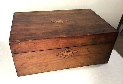 Antique Inlaid Box Pale Rosewood  Parquetry Casket Writing Slope