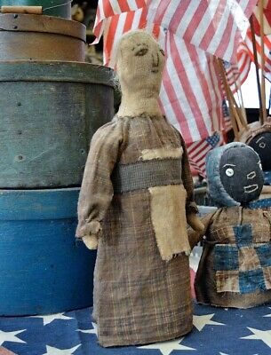 Handmade Heirloom Quality Large Primitive Folk Art Stockinette Bottle Doll 15""