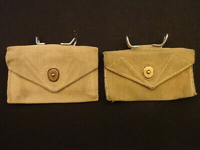 2 Us Army Combat First Aid Belt Pouch Khaki Color Early Ww Ii Web