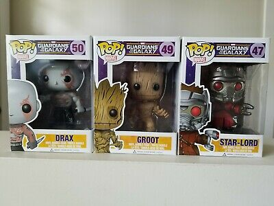Pop Funko Marvel: Guardians of the Galaxy lot of 3 (Drax,Groot and Star-lord)