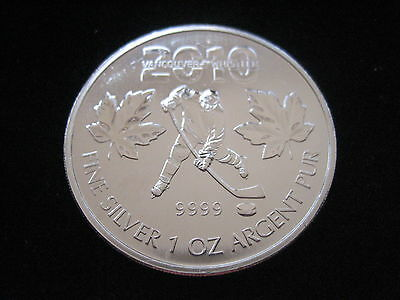 """Mds Canada Canada 5 Dollars 2010 """" Hockey Vancouver """", 1 Once Argent #19"""