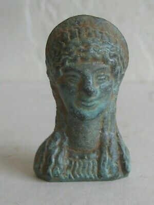 Antique/Ancient Roman Greek Bronze Athena Goddess Bust Sculpture Relic Statue
