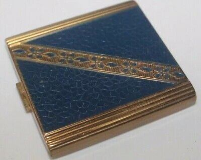 Vintage Compact Vanity Case Gold Tone and Enamel