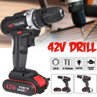 42V Cordless Electric Screwdriver Drill Impact Driver LED Worklight + 2