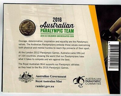 2016 RIO PARALYMPICS $2 Two Dollar coin in folder UNC.